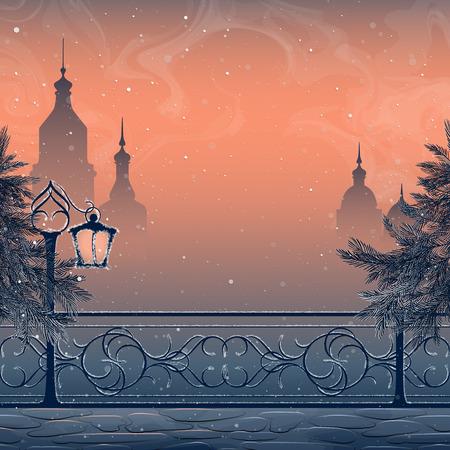 Paisaje de invierno con el paisaje urbano, linterna, puente y abetos nevados. Cielo de la tarde y la nieve. Fondo de la Navidad. Ilustración de vector