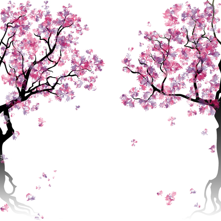 cherry wood: Colorful abstract blooming trees. Template with place for inscription. Spring background. Watercolor imitation.