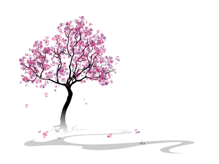 cherry wood: Colorful abstract blooming tree. Template with place for inscription. Spring background. Watercolor imitation.