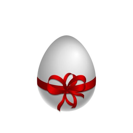 paschal: Happy Easter symbol. Paschal white egg with red bow and ribbon. Vector, EPS 10