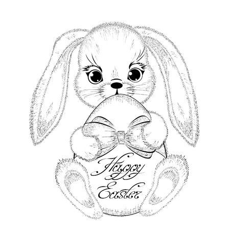 paschal: Hand drawn easter rabbit with paschal egg. Detailed sketch of bunny isolated on white background. Black and white pencil drawing. Vector Illustration