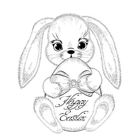 Hand drawn lapin de Pâques avec l'oeuf pascal. esquisse détaillée du lapin isolé sur fond blanc. Noir et blanc dessin au crayon. Vecteur
