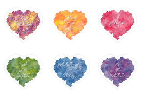 imitations: Templates of greeting card for Valentines day. Abstract hearts with handwritten inscriptions. Watercolor imitations. Vector, EPS 10