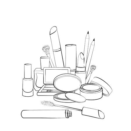 Dibujado a mano colección de cosméticos. Bosquejo de los elementos para el maquillaje aislado en el fondo blanco. esquema blanco y negro Foto de archivo - 52753048