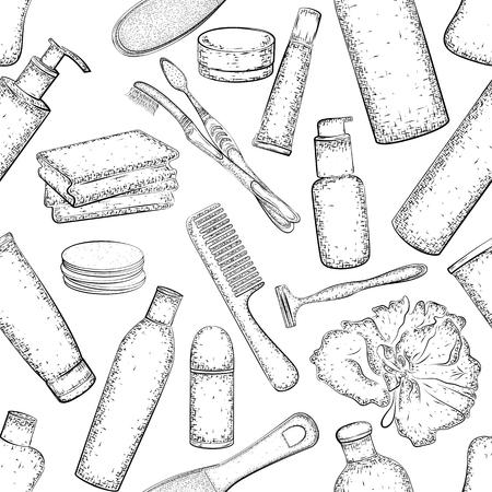 Set de higiene. sin patrón, con la colección de dibujado a mano de productos para el cuidado del cuerpo. croquis detallado de elementos para el baño o la ducha aislados sobre fondo blanco. lápiz blanco y negro o dibujo de la tinta Foto de archivo - 52753049