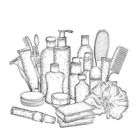 Set de higiene. dibujado a mano la colección de productos para el cuidado del cuerpo. croquis detallado de elementos para el baño o la ducha aislados sobre fondo blanco. lápiz blanco y negro o dibujo de la tinta Foto de archivo - 52753072