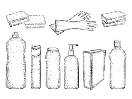 cleaning products: Hand drawn set of products for housekeeping and cleaning. Detailed sketch of elements for cleaning isolated on white background.  Black and white pencil or ink drawing Illustration