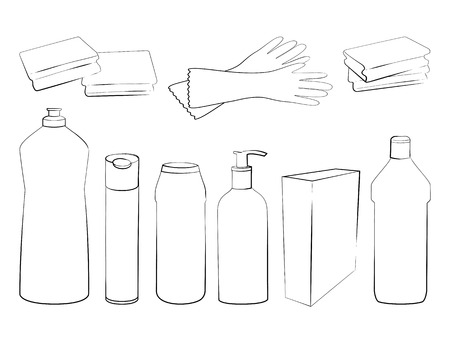 dishwashing liquid: Hand drawn set of products for housekeeping and cleaning. Sketch of elements for cleaning isolated on white background.  Black and white outline Illustration