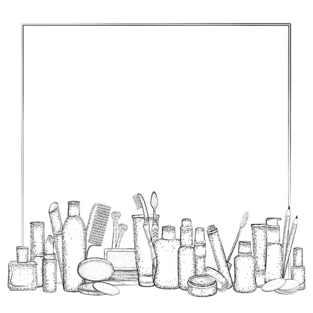 health beauty: Frame with hand drawn collection of products for body care and make-up. Detailed sketch of elements for hygiene and beauty isolated on white background.  Black and white pencil or ink drawing Illustration