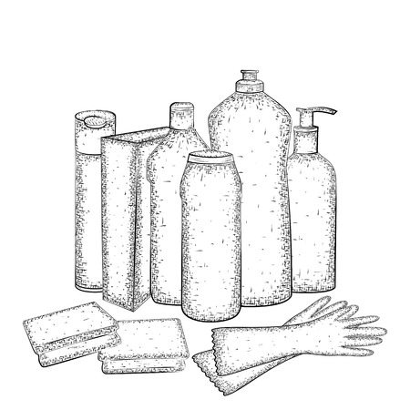 dishwashing liquid: Cleaning set. Hand drawn collection of products for housekeeping. Detailed sketch of elements for cleaning isolated on white background.  Black and white pencil or ink drawing Illustration