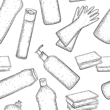 dishwashing liquid: Cleaning set. Seamless pattern with hand drawn collection of products for housekeeping. Detailed sketch of elements for cleaning isolated on white background.  Black and white pencil or ink drawing Illustration