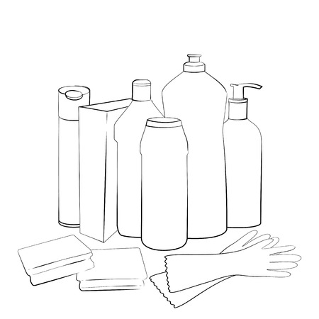 dishwashing liquid: Cleaning set. Hand drawn collection of products for housekeeping. Sketch of elements for cleaning isolated on white background.  Black and white outline Illustration