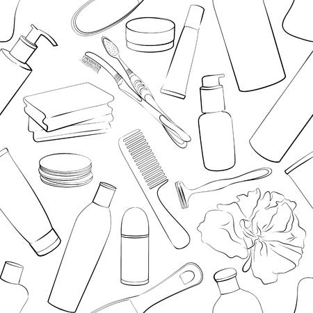 Patrón De Higiene Personal De Color Ilustraciones