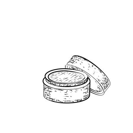 Dibujado a mano crema. croquis detallado de la crema o bálsamo icono aislado sobre fondo blanco. lápiz blanco y negro o dibujo de la tinta Foto de archivo - 57494422