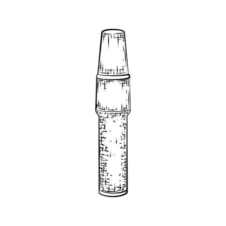 Dibujado a mano corrector. croquis detallado del icono de tubo aislado en fondo blanco. lápiz blanco y negro o dibujo de la tinta Foto de archivo - 57494425