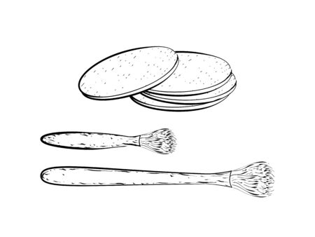 sponges: Hand drawn detailed sketch of brushes and sponges  isolated on white background. Black and white pencil or ink drawing Illustration