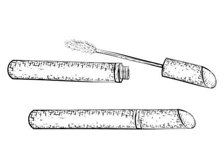 Dibujado a mano boceto detallado de rímel aislado sobre fondo blanco. lápiz blanco y negro o dibujo de la tinta Foto de archivo - 57494433