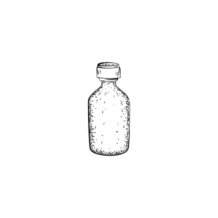 tincture: bottle. Container for mixture or product for care and hygiene. Detailed sketch of tincture isolated on white background.  Black and white pencil or ink drawing
