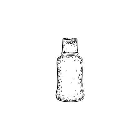 Botella. Recipiente para mezcla o producto para el cuidado del cuerpo y la higiene. croquis detallado del recipiente aislado sobre fondo blanco. lápiz blanco y negro o dibujo de la tinta Foto de archivo - 58385020