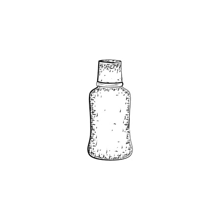 mixture: bottle. Container for mixture or product for body care and hygiene. Detailed sketch of container isolated on white background.  Black and white pencil or ink drawing