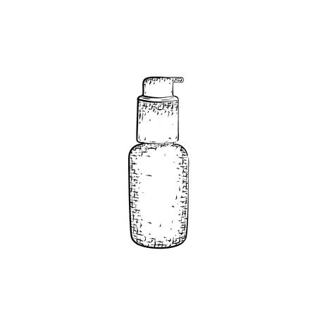 Dibujado a mano la botella o tubo. Envase para productos para el cuidado del cuerpo y la higiene. croquis detallado del recipiente aislado sobre fondo blanco. lápiz blanco y negro o dibujo de la tinta Foto de archivo - 58385037