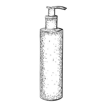 Botella o tubo. Envase para productos para el cuidado del cuerpo y la higiene. croquis detallado del recipiente aislado sobre fondo blanco. lápiz blanco y negro o dibujo de la tinta Foto de archivo - 58385050