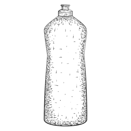 dishwashing liquid: Hand drawn bottle or tube. Container for product for housekeeping and hygiene. Detailed sketch of container isolated on white background.  Black and white pencil or ink drawing Illustration