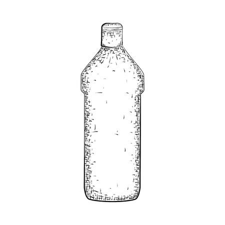 Dibujado a mano la botella o tubo. Envase para productos de limpieza e higiene. croquis detallado del recipiente aislado sobre fondo blanco. lápiz blanco y negro o dibujo de la tinta Foto de archivo - 64980686