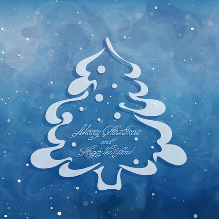Christmas card with spruce tree and Merry Christmas and Happy New Year inscription. Swirl handwritten text. Contour pine. Simple pine symbol or icon. Cutout stencil. Paper template. Vector, EPS 10. Stock Illustratie