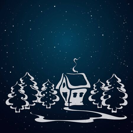 Winter landscape with house in the forest. Night scenery. Christmas card with spruces tree and house. Winter image. Contour pine. Picture on the window. Cutout stencil. Paper template. Snow background. Vector, EPS 10. Stock Illustratie