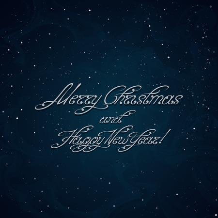 Merry Christmas and Happy New Year inscription on the snow-covered background. Swirl handwritten text. Useful for greeting cards and holiday banners. Vector, EPS 10