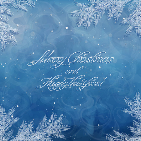 Christmas background, borders, frames, pine twigs. Christmas card with Merry Christmas and Happy New Year inscription. Winter image. Snow background. Swirl handwritten text. Vector, EPS 10.