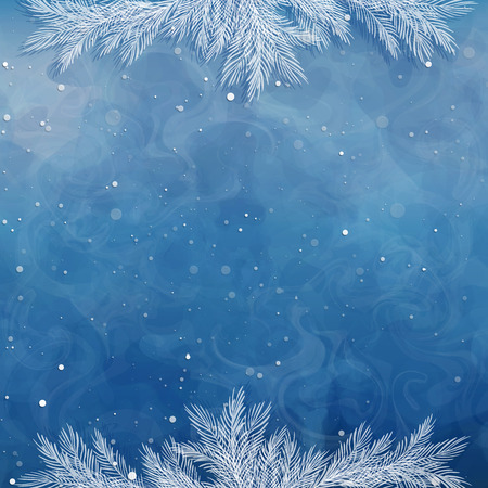 Christmas background, borders, frames, pine twigs. Snow-covered spruce branches. Winter backdrop. Vector, EPS 10