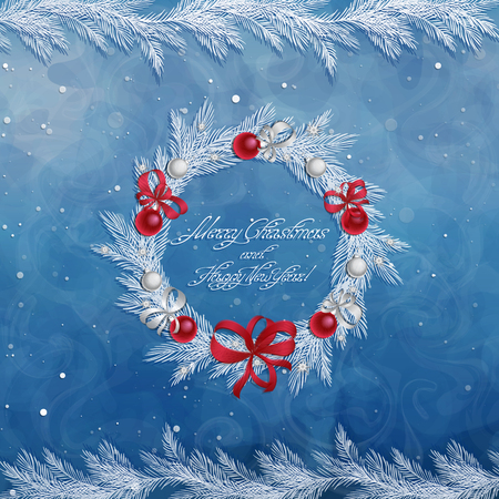 Christmas wreath with decorations: balls, ribbons and stars. Christmas pine twigs and spruce branches. Christmas border. Greeting card. Vector, EPS 10.