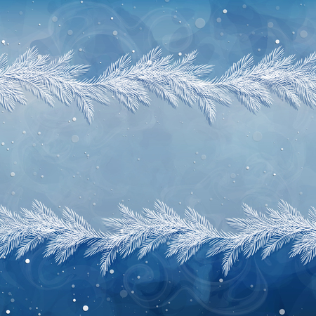 Christmas background, borders, frames, pine twigs. Snow-covered spruce branches. Winter backdrop. Vector, EPS 10 Foto de archivo - 126887666