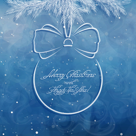 Ball with holiday inscription. Christmas border with pine twigs and spruce branches . Greeting card. Swirl handwritten text. Vector, EPS 10.
