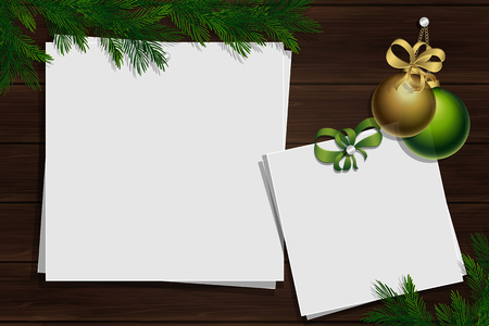 Wooden board with photo and place for inscription. Christmas pine twigs and spruce branches. Inspiration board with border. Winter mockup. Vector, EPS 10. Foto de archivo - 126887672