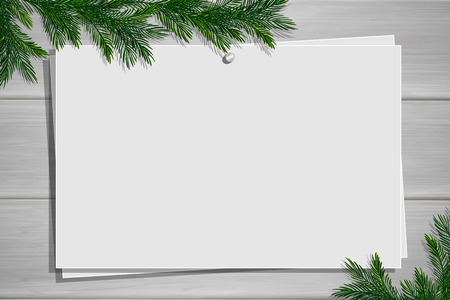 Wooden board with photo and place for inscription. Christmas pine twigs and spruce branches. Inspiration board with border. Winter mockup. Vector, EPS 10. Foto de archivo - 126887673