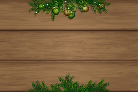 Wooden board with place for inscription. Christmas pine twigs and spruce branches. Inspiration board with border. Winter mockup. Vector, EPS 10. Stock Illustratie