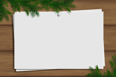 Wooden board with photo and place for inscription. Christmas pine twigs and spruce branches. Inspiration board with border. Winter mockup. Vector, EPS 10.