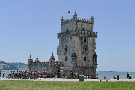 Portugal, Lisbon, Belem Tower. Belem Tower, officially the Tower of Saint-Vincent is a 16th century fortification located in Lisbon that served as an embarkation and disembarkation point for Portuguese explorers and as a ceremonial gate to Lisbon. It was built during the Portuguese Renaissance. Banque d'images