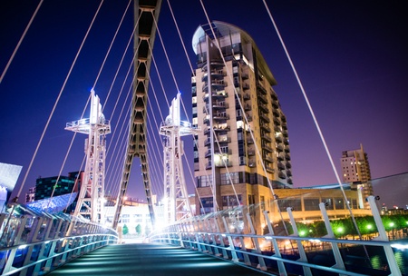 lowry: Lowry footbridge in Salford Quays Manchester UK