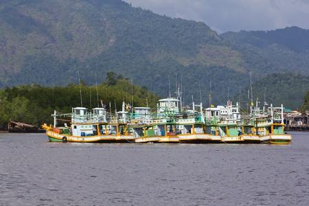 Fishing Boat at Kuraburi  in Thailand Stock Photo