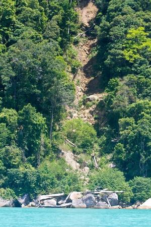 Land Slide at Surin Island Stock Photo