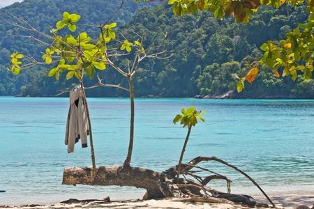 Jacket on Surin Island  s beach