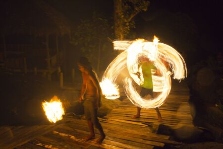 Fire show at Kood Island in Thailand