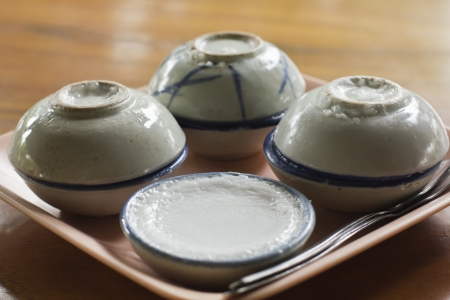 Thai steamed pandanus cake photo