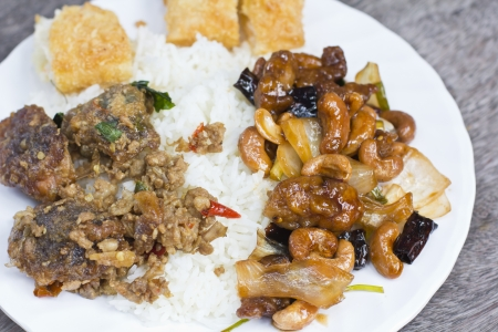 Rice and curry  Thai street food photo