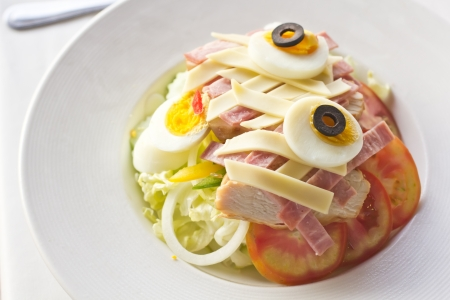 Ham salad with egg and Thai vegetable Stock Photo