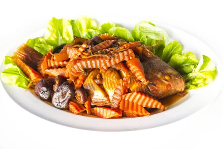 Stewed red tilapia fish and vegetables with salty soup Stock Photo - 15360824